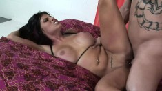 Buxom Charisma Cappelli gives a blowjob and receives a deep pounding