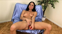 Mesmerizing brunette with perfect tits and ass Alex fucks a red dildo