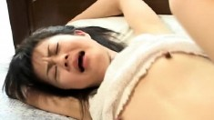 Naughty Japanese teen with small boobs gets schooled in hardcore sex