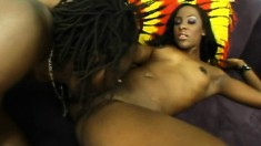 Slim ebony beauty with tiny tits impales herself on a huge black pole