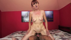 Slutty mature woman wraps her pussy lips around a young man's big dick