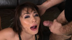 Oriental slut puts her curves on display and then gets double stuffed