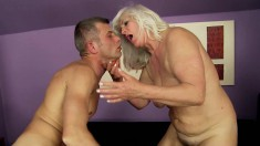 Chunky mature blonde's tits bounce as she rides a fat fun stick