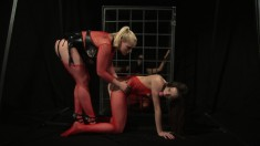 Insatiable Mistress Kathia can't get enough of playing in her dungeon