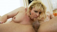 Blonde mature lady spreads her hot legs and gets deeply plowed