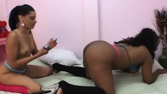 Ebony lesbian lovers Tiffany and Nikki devour each other's wet cunts