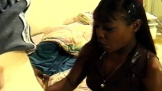 Ebony gives head in a car and goes home for a hot anal threesome