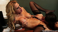Inked up blonde in glasses and stockings sluts it up for her boss