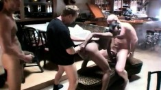 Bodacious black beauty has three white dudes sharing her lovely holes