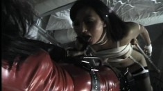 Crazy Asian Chick With A Latex Fetish Blows A Black Rod And Is Nailed