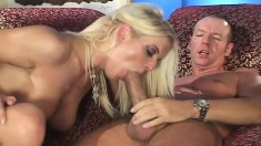 Slender blonde milf with big hooters takes a long cock deep in her ass