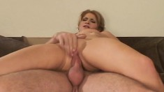 Cute coed trades head, gets fucked standing up and then goes anal