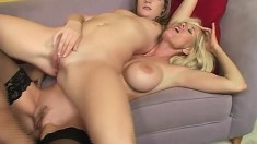 Busty blonde Tabitha and her best friend tattoo his hard pecker
