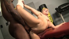 Voluptuous blonde cougar is always eager to fuck a huge black shaft