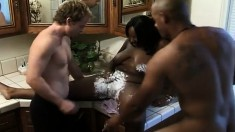 Shaved ebony beauty Skyy Jolie indulges in a hot interracial threesome