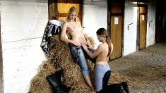 Two delightful cowgirls find a place to satisfy their lesbian urges