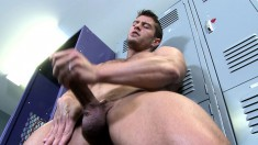 Seductive stud exposes his body and strokes his big rod for the camera