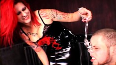 Bound stud slave gets his ass whipped raw by his fire-haired mistress