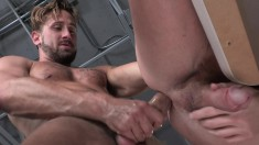 Two hot and horny studs take off their clothes for heated oral and anal sex