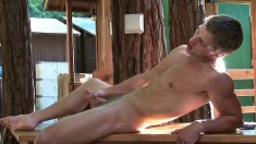 Seductive dude gets naked and plays with his stiff meat stick