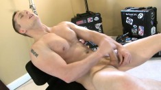 Muscled stallion gets rid of his clothes and pleases his long shaft