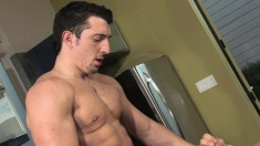 Muscled hunk takes a big shaft up his butt and trembles with pleasure