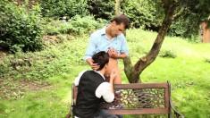 Blonde chick spies on her hot boyfriend sucking a hard cock on a park bench