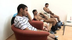 Three hot ethnic studs get together and drive themselves to pleasure