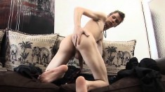 Skinny twink gets turned on and starts stroking his hard wiener