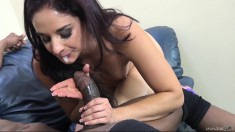 Petite brunette Sheena Ryder has a big black cock making her cum hard