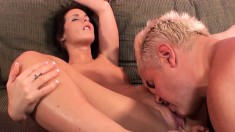 Foxy Mia Valentine and her lovely clam get licked and vibrated