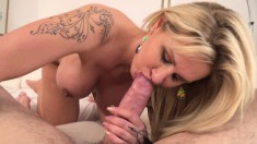 Busty MILF eats a big dick, gets drilled and cum on her big boobs