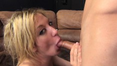 Attractive blonde Amy Brooke takes a deep banging and gets facialized