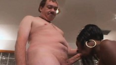 Enticing black wife peels off her clothes and enjoys a big white dick