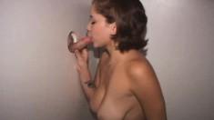 Sultry Latina with splendid big tits enjoys her time at the gloryhole
