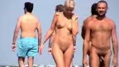 Public voyeur enjoys nude beach sex