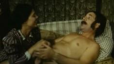 Brunette handjob amateur sensually jerks off her boyfriend