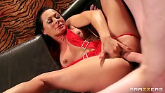 Young stud gets lucky with the slutty, horny, brunette stripper