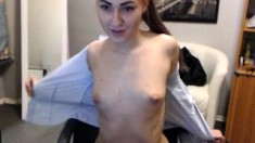 Hot Blonde Babe Strips And Masturbate