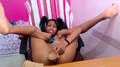 Black Teen Gags and Fucks Her Dildo