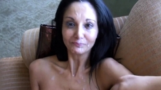 Hot MILF Catches A Load Of Cum From A Distance