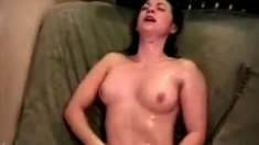 Sweet girlfriend loves the golden shower her bf gives her