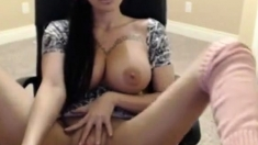 Big Tits Masturbating And Squirting In Chair