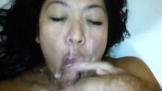 Amateur girlfriend homemade blowjob with facial cumshot