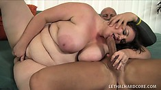 BBW with gigantic tits and a huge belly rides and sucks on a dick