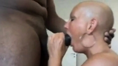Bald mature sucking BIG cock - hot