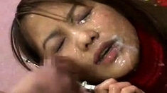 Curvaceous Japanese whore fucks for a facial cumshot