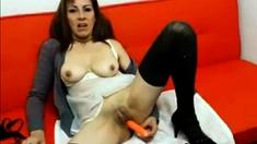 Horny latina milf toying pussy on webcam