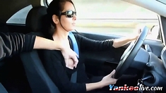 teen doing handjob while he's driving