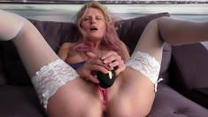 Ftv girl Ally amazing blonde in black stockings toying pussy
